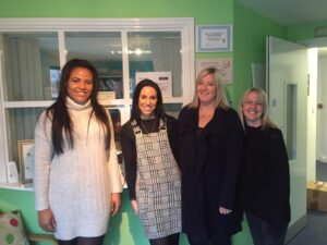 Amy and Rochelle visiting Barnardo's centre in Leyland